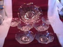 Jeanette Glass Co. Depression (Iris & Herringbone) Crystal Berry Set