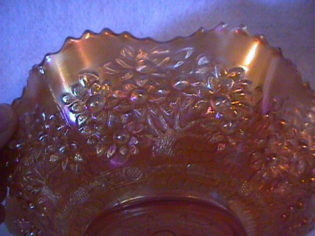 Fenton Carnival Glass (Cherry Chain Variant) Bowl-Marigold