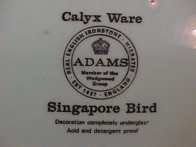 Adams Calyx Ware (Singapore Bird) Salad Plate