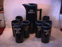 Van Briggle Drinks Set   9-Piece in Blue/Black Drip