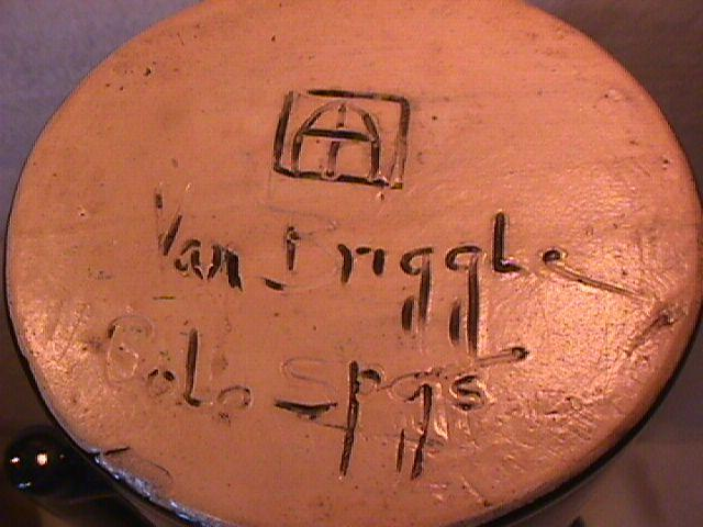 Van Briggle Drinks Set   9-Piece in Blue/Black Drip