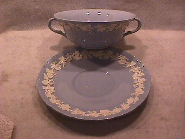 Wedgwood China Embossed (Queensware) Cream Soup & Liner