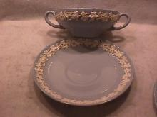 Wedgwood China Embossed (Queensware)  Cream Soup & Saucer