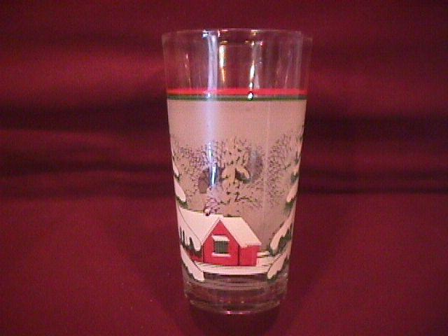 Set of 7=Christmas Glass Tumblers