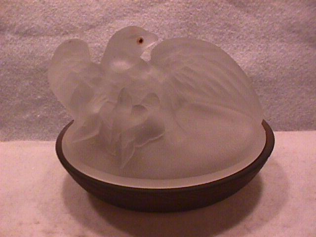 Frosted Glass Westmoreland Eagle on Nest Dish