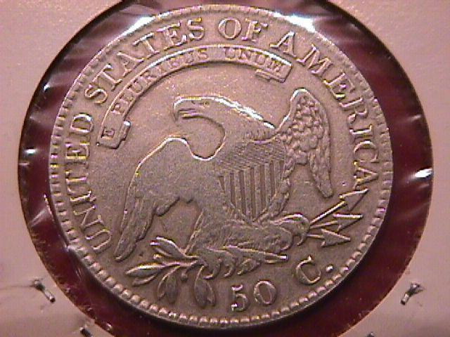 CAPPED BUST LIBERTY SILVER HALF DOLLAR 1823 BROKEN 3 CHOICE VERY FINE