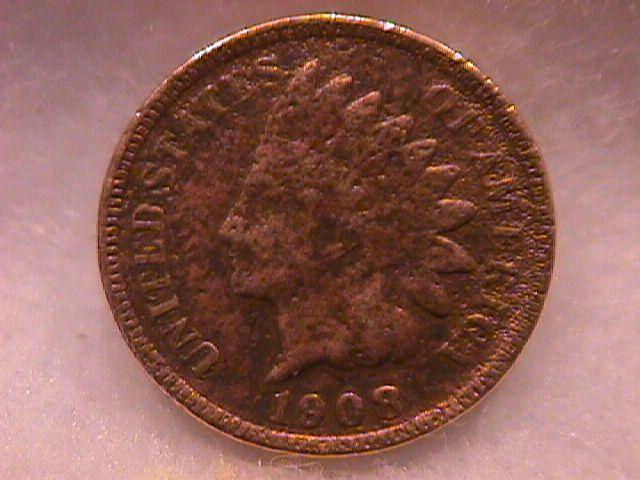 INDIAN HEAD COPPER ONE CENT 1908-S VERY GOOD DETAIL ,PITTED