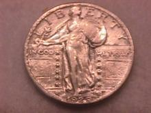 SILVER STANDING LIBERTY QUARTER 1929 CHOICE VERY FINE