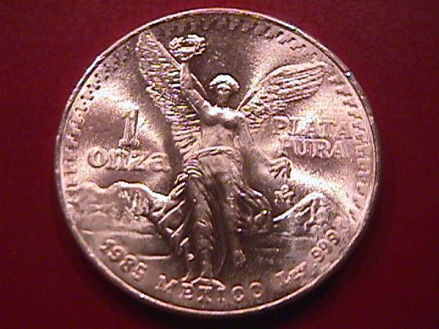 ESTADOS UNIDOS MEXICANOS 1985-1 ONZA PLATA PURA STERLING BULLION ROUND