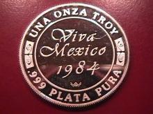 VIVA MEXICO 1984 UNA ONZA TROY .999 PLATA PURA STERLING BULLION ROUND