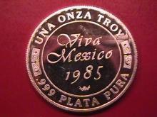 VIVA MEXICO 1985 UNA ONZA TROY .999 PLATA PURA STERLING BULLION ROUND