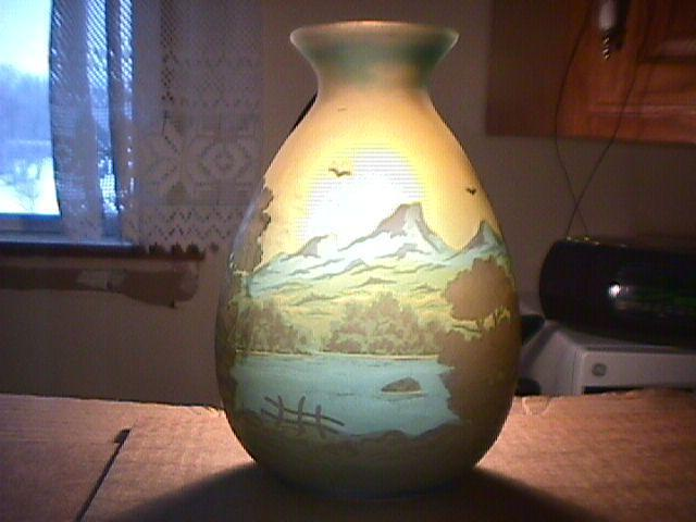 Beautiful Galle Cameo Vase of Mountains & Lake Scene