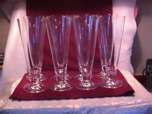 Set of (8) Blown Crystal Pilsner Beer Glasses