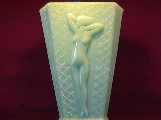 Mc Kee-Art-Deco (Jadite) Triangle Vase