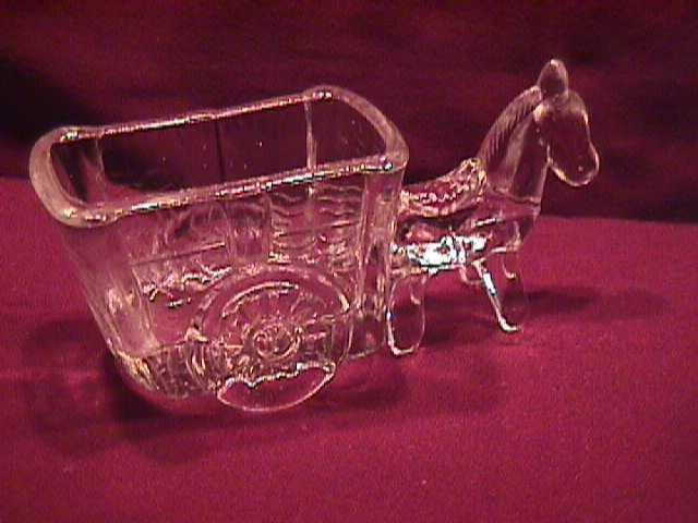 Pressed Glass Donkey & Cart Candy Novelty