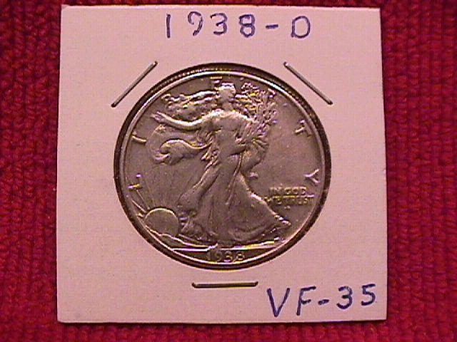 LIBERTY WALKING SILVER HALF DOLLAR 1938-D VERY FINE #-35