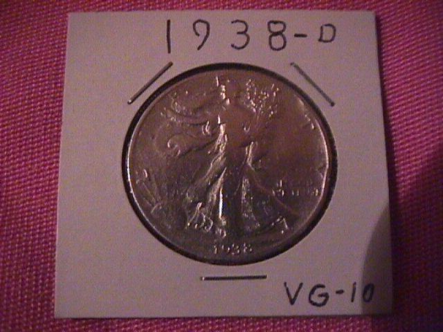 1938-D LIBERTY WALKING SILVER HALF DOLLAR VERY GOOD # 10 GRADING