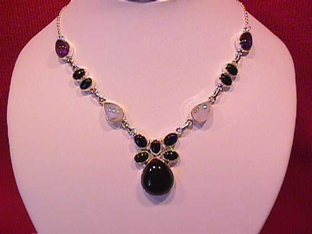 Onyx, Moonstone & Amethyst, Sterling Necklace