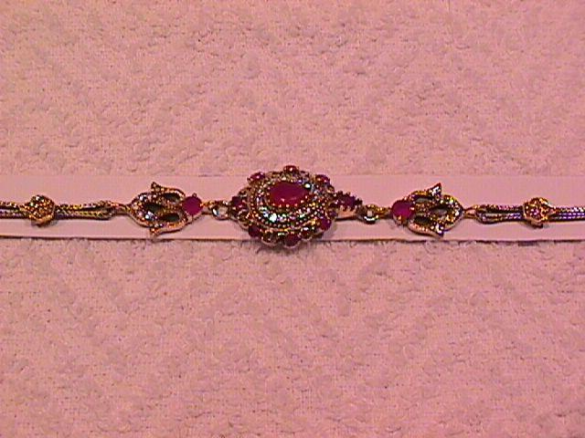 Faux Ruby Pear Shape, & Very Detailed Stone & Sterling Bracelet