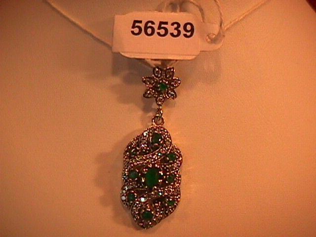 Gorgeous Faux Emerald & Diamond-Sterling Pendant