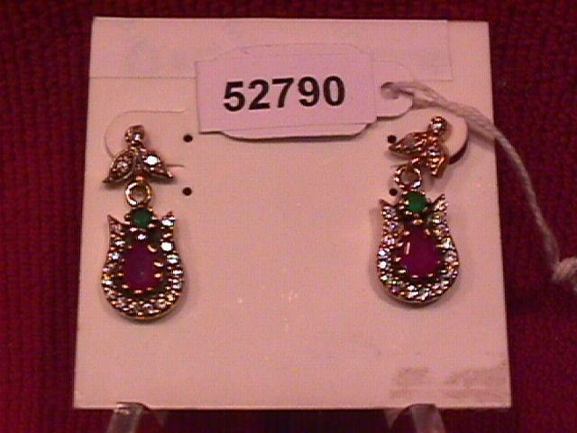 Flashy Faux Ruby & Emerald Earrings-Sterling
