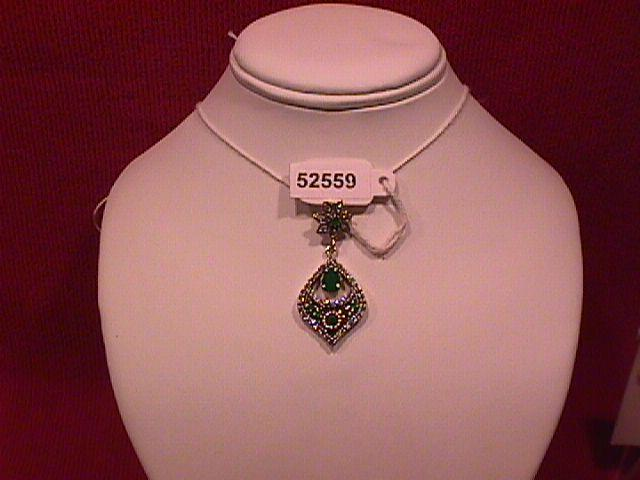 Faux Emerald & Sterling Persian Drop Pendant