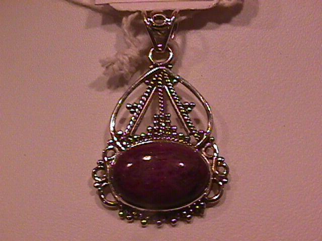 Nice Ruby Zoisite- & Bali Sterling Pendant