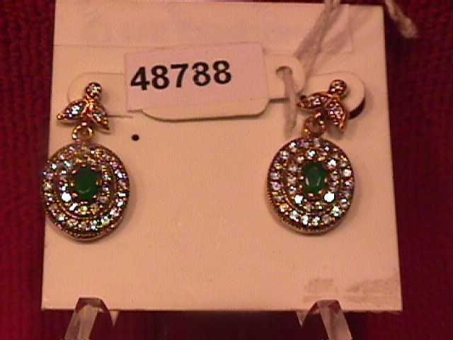 Oval Faux Emerald & Diamond Earrings-Sterling