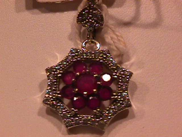 Sweetheart Faux Ruby & Diamond Pendant-Sterling