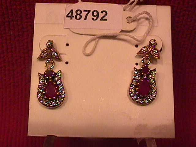 Faux Ruby & Sterling Earrings