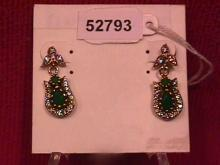 Faux Emerald & Sterling Earrings