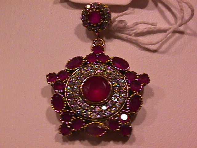 Prescious Faux Ruby & Diamond Pendant-Sterling