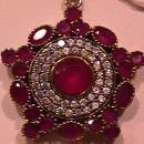 Prescious Faux Ruby & Diamond Pendant-Sterling