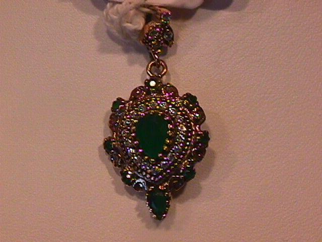 Just Simply Beautiful Faux Emerald Teardrop Pendant-Sterling