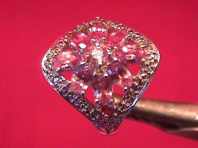 Sterling and Pink Amethyst & White Topaz Ring-6
