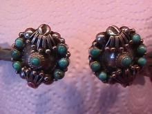 Sterling and Turquoise (Squash Blossom) Earrings=Screw Back
