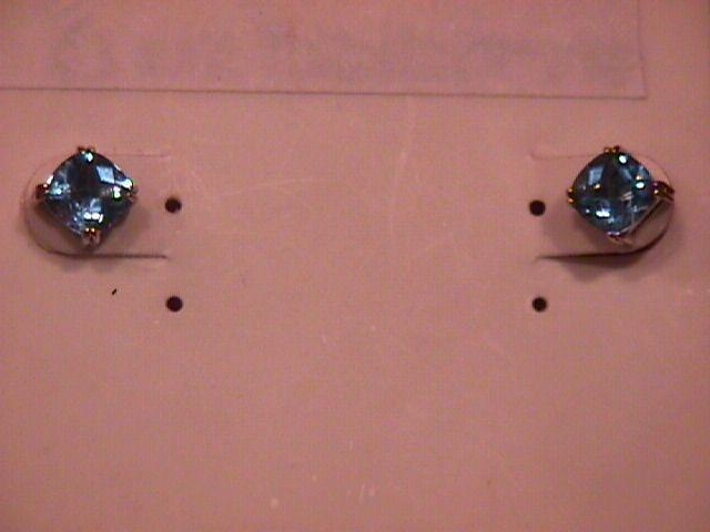 Sterling & Aqua Checkerboard Earrings