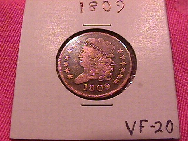 Half Cent Copper Coin Classic Head-1809  Very Fine 20 Condition