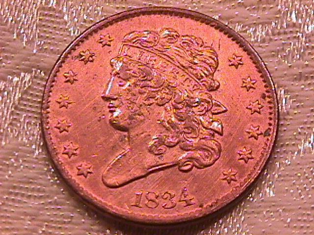 Half Cent Copper Coin Classic Head-1834  AU-50 Condition