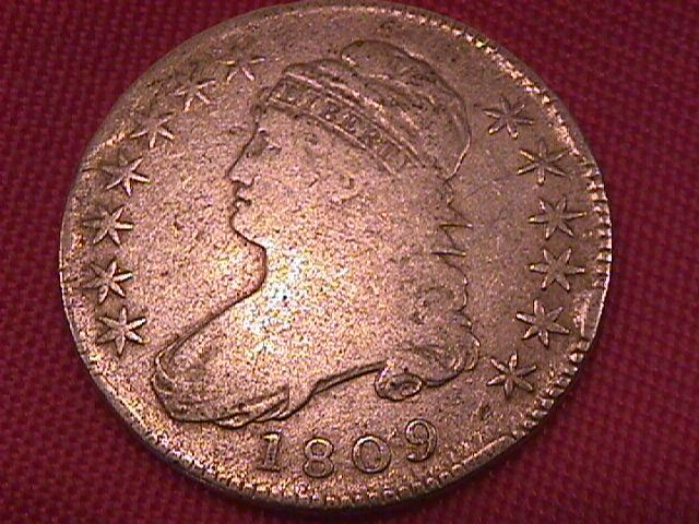 Capped Bust Silver Half Dollar 1809 VERY GOOD #10 Condition