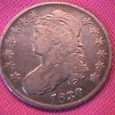 CAPPED BUST SILVER HALF DOLLAR  DATED 1830 GRADED  FINE-13