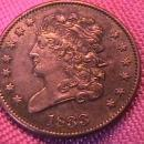 HALF CENT COPPER COIN Classic Head-1833  AU-50   Condition