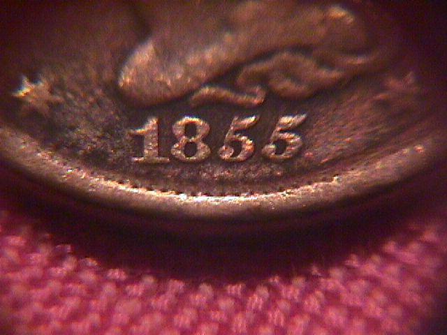 HALF CENT COPPER COIN BRAIDED HAIR-1855 VERY FINE-30   Condition