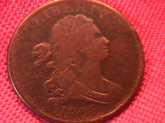 HALF CENT COPPER COIN DRAPED BUST HALF CENT -1806 VERY GOOD-10   Condition