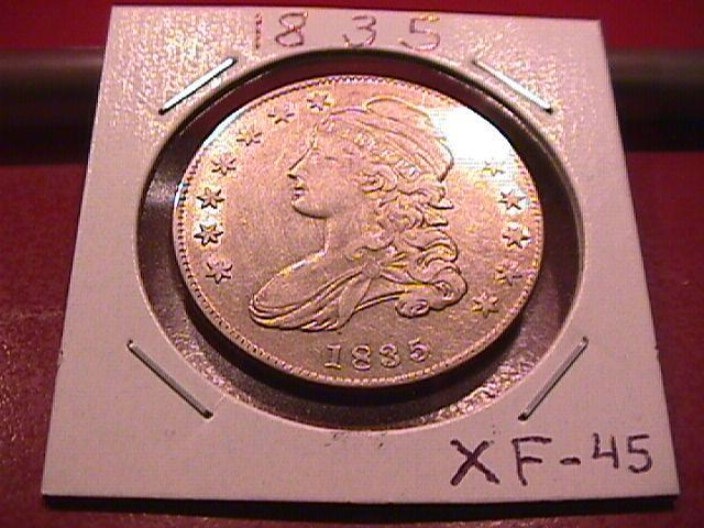 CAPPED BUST SILVER HALF DOLLAR   DATED -1835 EXTREMELY FINE -45   Condition