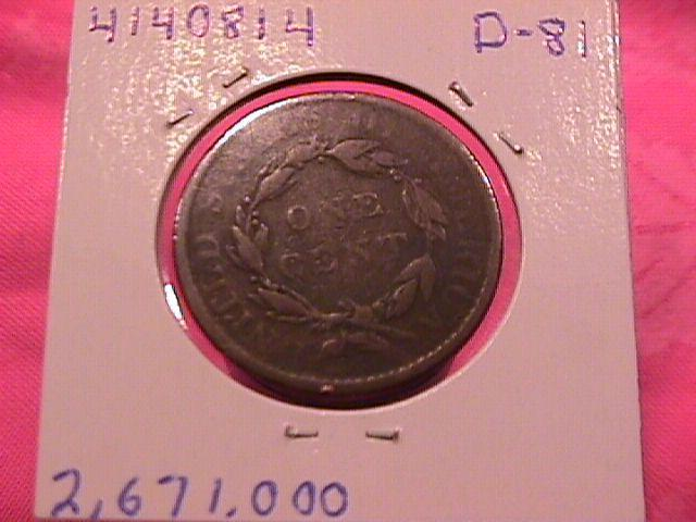 CORONET HEAD COPPER LARGE CENT  1819 GRADED  VERY GOOD-10