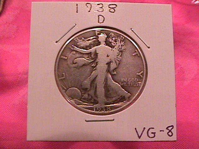 1938-D LIBERTY WALKING SILVER HALF DOLLAR VERY GOOD # 8 GRADING