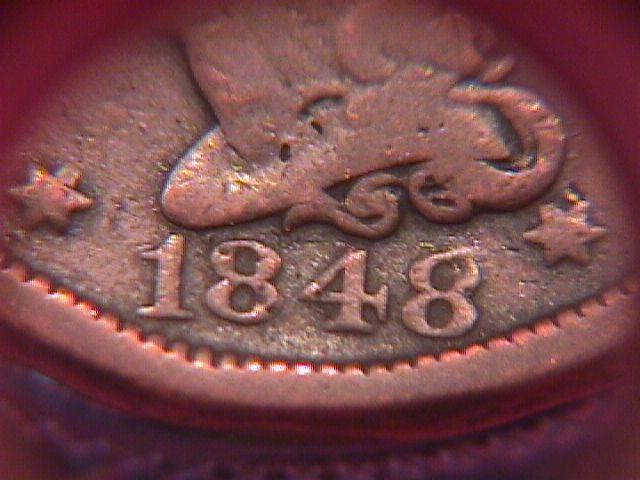 BRAIDED HAIR COPPER LARGE CENT   1848 GRADED  FINE-12