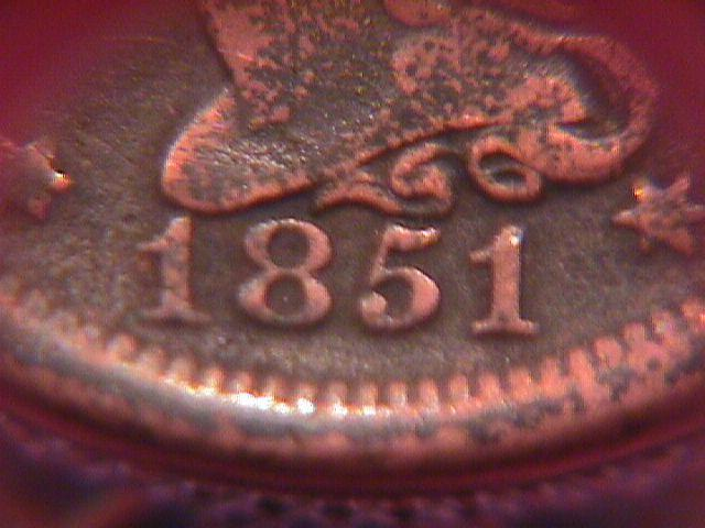 BRAIDED HAIR COPPER LARGE CENT    1851 GRADED VERY  FINE-20
