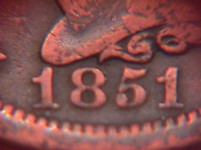 BRAIDED HAIR COPPER LARGE CENT 1851 GRADED VERY   FINE-30